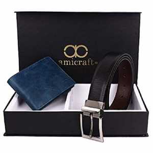 Amicraft Men's Blue-Black Faux Leather Combo Pack of Wallet and Belt (Free Size)