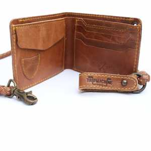 Trip Machine Company WLTN Wallet with Leather Braid (Tan Brown)