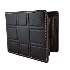 Ammvi Creations 3D Pattern Genuine Leather Dark Brown Wallet For Men